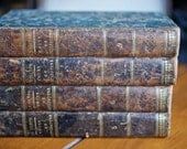 1823 French hand-tooled leather books
