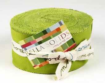 "Leaf Green Solid Jelly Roll - 2.5"" strips - Moda"