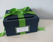 Wedding Card Box Bridal Shower Card Box Navy and Kelly Green Small Wedding Custom Reception Card Box Handmade Cardboxes Personalized Tag