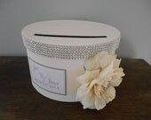 Glam Wedding Card Box Round Card Box Custom Wedding Reception Card Boxes  Handmade Gift Card Holder Roses Rhinestones Bling Wedding Decor