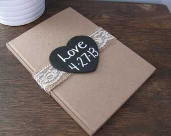 Rustic Wedding Guest Book Vow Love Notes Notebook Bridal Journal with Personalized Chalkboard WoodBurned Heart Recycled Brown Craft Paper
