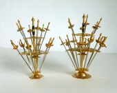 Set of 29 Brass & Steel Mid Century Spanish Sword Appetizer Cocktail Olive Picks Made in Toledo Spain