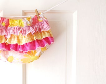 Ruffle Diaper Cover Bloomer- Pink Lemonade Vintage Floral- Lemon Yellow- 3m 6m 12m 18m- Baby Shower Gift- Baby Spring Fashion- Recycled