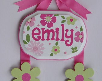 Hand Painted & Personalized 5x7 Hair bow holder