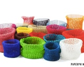 DIY Kit: Knit Baskets Small - Paper Twine - personalize and choose your colors - easy and fun - no knitting skills required