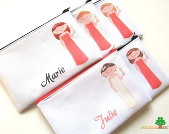 Bridesmaids gifts personalized zipper bags bridesmaids pouches wedding bridal shower party favors or thank you cosmetic bags bachelorette