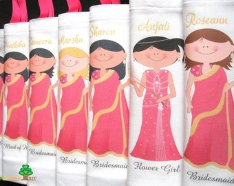 Indian bridesmaid gift idea bride sari langa wedding gifts bags or bachelorette bridal shower party or wedding give away favors totes