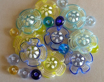 Flower Lampwork Glass Beads ,FREE SHIPPING, Set of Blue, Yellow and Turquoise Disc and Donuts Beads - Rachelcartglass
