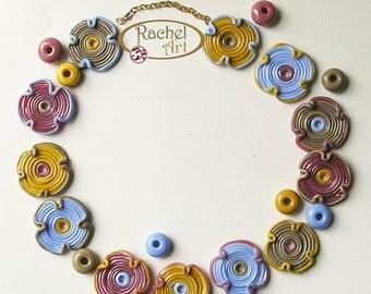 Handmade Lampwork Flower Glass Beads, FREE SHIPPING, Organic Shades Glass Disc Beads - Rachelcartglass