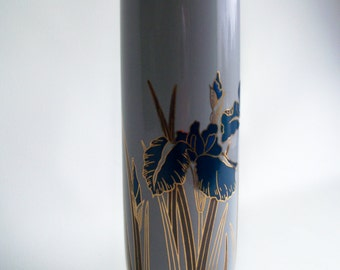 Vintage Blue and Gray Otagiri Royal Iris Vase