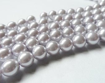 Pale Lilac Glass Pearl Beads 8mm Round Full Strand