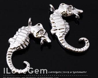 NP-1448 Rhodium plated, Sea Horse, pendant, 2pcs