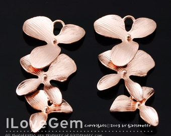 SALE/ 10pcs / NP-622 Glossy Rose Gold plated, Triple flower connector, Orchid pendant