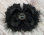 Solid Black Bow Fluffy Stacked Boutique Bow with Beautiful Rhinestone Center