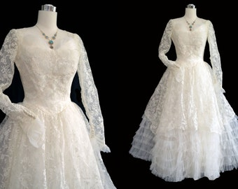 Vintage 50s Wedding Dress // 1950s Wedding Gown // Lace, Tulle & Ruffles Princess Wedding Gown // Sheer Lace Sleeves Button Back Bridal Gow