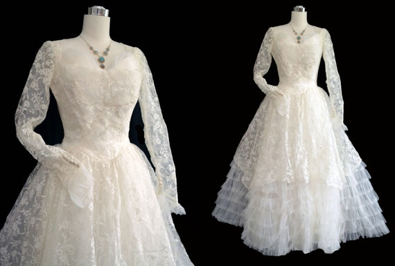 Vintage 50s wedding dress 1950s wedding gown by for Vintage 1950s wedding dress