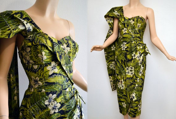Vintage 50s Alfred Shaheen Dress 1950s Sarong Dress 50s