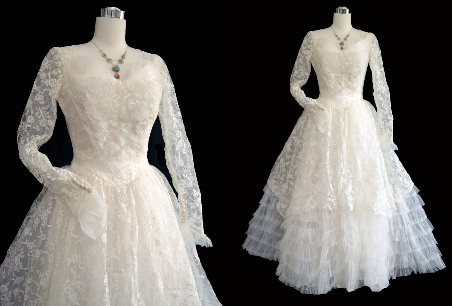 vintage 50s wedding dress 1950s wedding gown lace tulle