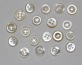 19 Small White Buttons  Mother of Pearl and Plastic Pearl - 8mm - 9mm