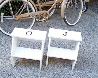 Personalized Vintage Style Two Step Stool in White Handmade by Circle Creek Home