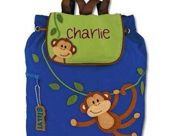 Stephen Joseph Boys Monkey Quilted Backpack w/free personalization