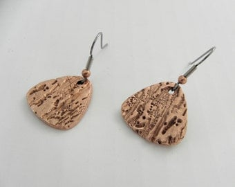 Solid Copper Textured Shield Earrings