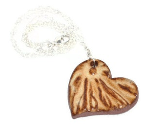 Creme Brulee Ceramic Heart Pendant on Sterling Silver Necklace