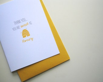 sweet as honey thank you card, Yellow Honey Beehive Thank You Card, Recycled