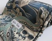 Alexander Henry Zen Charmer Black Minky Blanket Tattoo Snakes Geisha Skull- Made to Order