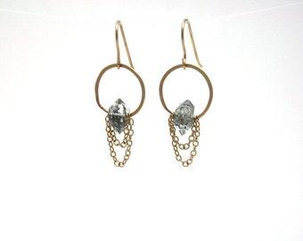 Herkimer Diamond Drape Earrings