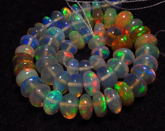 Top Grade High Quality - Awesome - Welo Ethiopian OPAL- Smooth Polished  Rondell Beads Gorgeous Fire Huge size - 5 - 6 mm - 8 inches