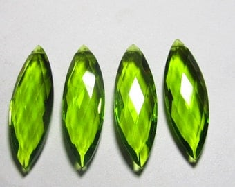 2 Matched Pair - AAAA - High Quality Gorgeous PERIDOT  colour QUARTZ Marquise Briolett Super Sparkle Huge size - 10x32 mm - drilled