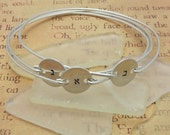 3 Stackable Personalized Bangles - Hebrew