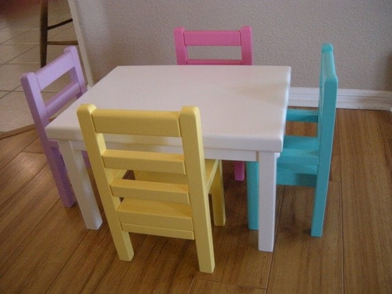 items similar to kitchen table and chairs for american girl doll or 18 inch dolls on etsy. Black Bedroom Furniture Sets. Home Design Ideas