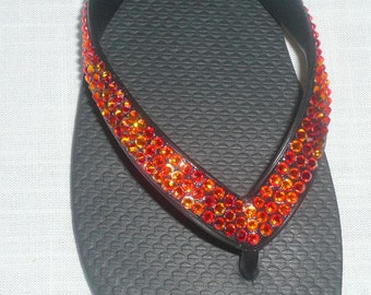 NEW Fire Opal Swarovski Crystal Flip Flops Size 8/9 High