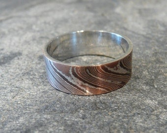 "Mokume Gane ""Wave"" pattern and Sterling Silver Ring-Wedding Band"