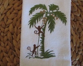 Monkeys in Palm Tree - Fingertip Velour Bathroom Towel 11x18 - JD Designs