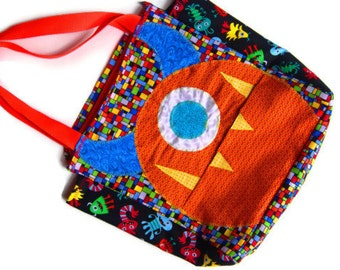 Personalized Monster Tote Bag, Back to School Childrens Book Bag, Kids Travel Bag, Sleepover Bag, Car Organizer, Beach Bag