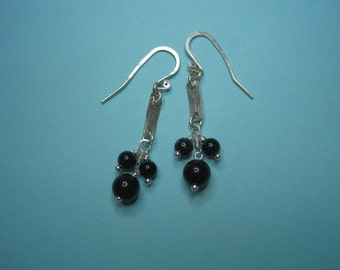 Black agate stone bead sterling silver earrings