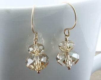 Gold Earrings, Golden Shadow Swarovski Earrings,  Swarovski Crystal Earrings Champagne Crystal