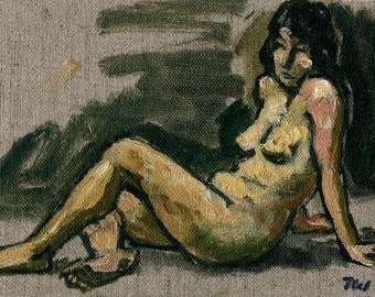 At Rest, Female Nude. Realist Figure Painting, Small Oil on Unstretched Canvas, 6x8 Impressionist Sketch from Life, Signed Original Fine Art