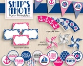 SHIP'S AHOY Nautical Birthday Printable Package in Pink and Navy Blue- Instant Download