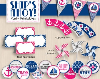 SHIP'S AHOY Nautical Baby Shower Printable Package in Pink and Navy Blue- Instant Download