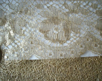 SALE 1 yard of a lovely rose design antique gold metal lace