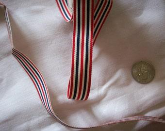 3 yds. of vintage ribbon stripe millinery 1940's