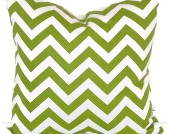"Premier Prints Zig Zag in Lime Green and White Chevron Pillow Cover  18"" X 18""   Throw Pillow, Cushion Cover, Home Decor"