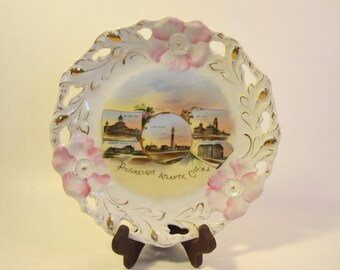 Vintage Atlantic City NJ Souvenir Plate  Wheelock Dresden