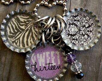 Sweet 13 Themed Bottle Cap Necklace - Purple