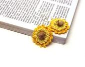 Yellow Flower Earrings / Lace Earrings / Crochet Earrings / Made in Israel - FREE Shipping