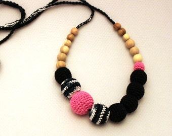 Pink Neon Balck White Nursing Necklace/ Teething Necklace/ Babywearing Accessory